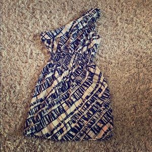 Blue and white patterned one shoulder dress